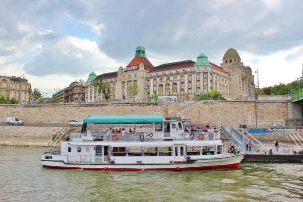 Budape For an affordable Danube River cruise, we hopped on the inexpensive commuter boat. The 45 minute ride only cost $2.50 each!