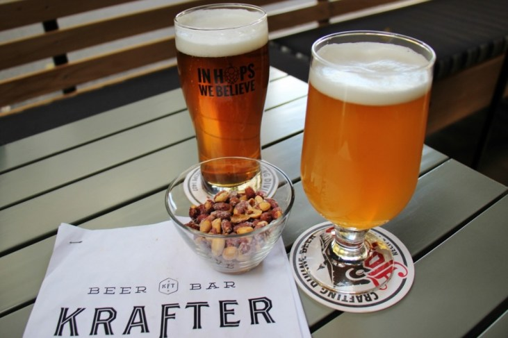 Peanuts and beers at Krafter craft beer bar in Belgrade, Serbia