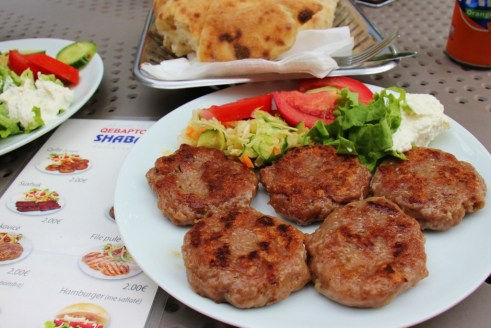 Qyfte grilled meat patties at Grill House Shaban on Mother Teresa Boulevard in Prishtina, Kosovo
