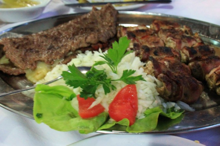 Grilled meat platter at Cubura in Belgrade, Serbia