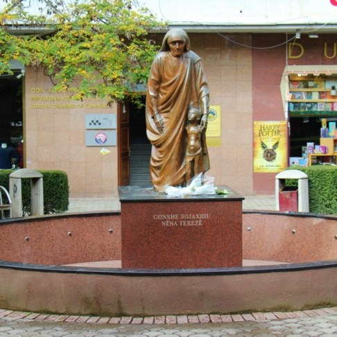 Statue of Mother Teresa on Mother Teresa Boulevard, Prishtina, Kosovo