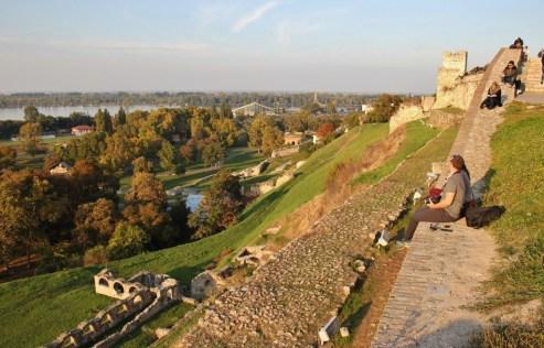 Sunset on the walls of Belgrade Fortress, Belgrade, Serbia