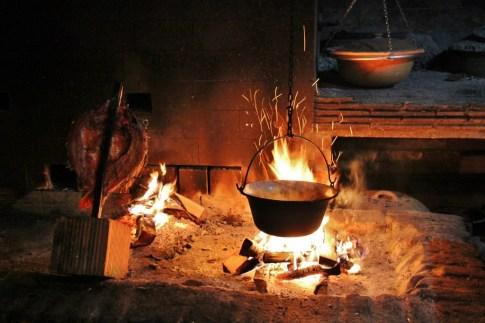 Open fire cooking at Josic Winery near Osijek, Croatia