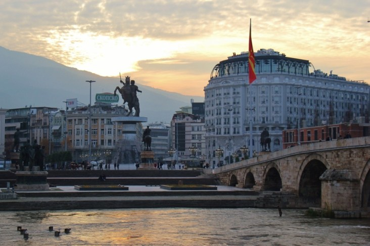 Sunset on Macedonia Square and Stone Bridge, Skopje, Macedonia