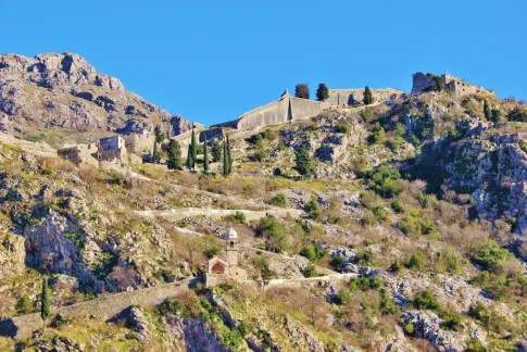 St. John's Hill and city walls in Kotor, Montenegro
