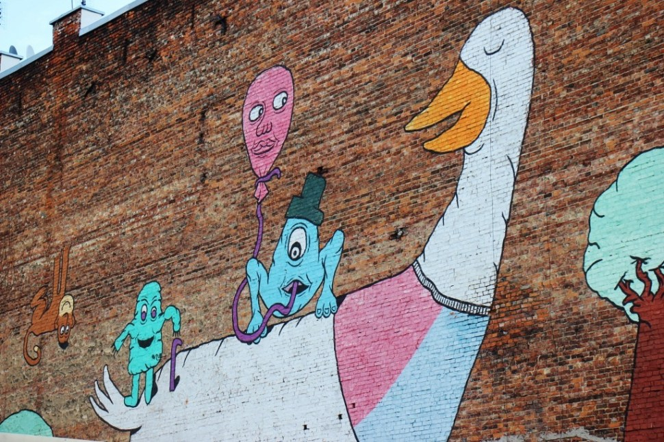 Goose wall mural street art in Praga neighborhood in Warsaw, Poland