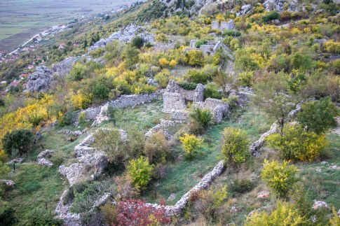 Ruins at hilltop fortress near Mostar, Bosnia and Herzegovina