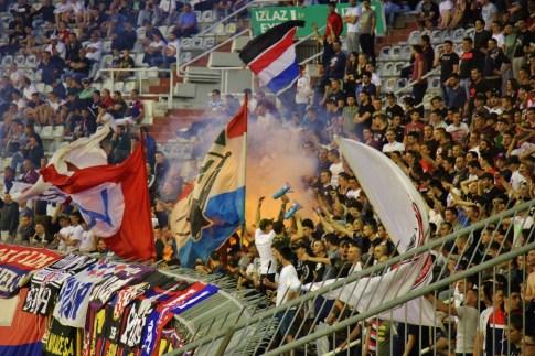 Hajduk supporters club, Torcida, cheer on the team in Split, Croatia