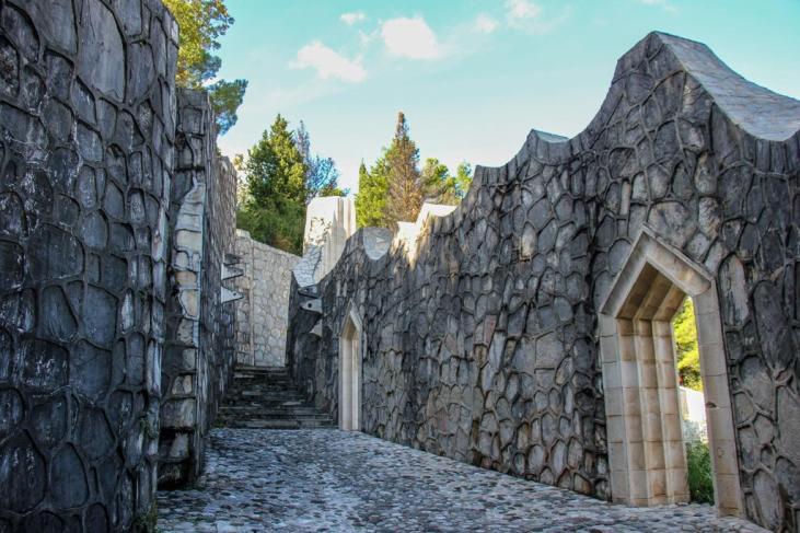 Walkway in the Partisan Memorial Cemetery in Mostar, Bosnia and Herzegovina