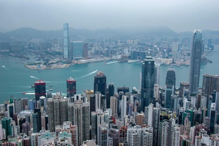 Hong Kong Skyscraper View From Victoria Peak Scenic Outlook