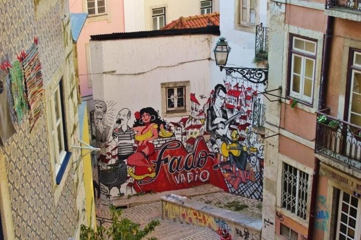Colorful street art in Lisbon, Portugal