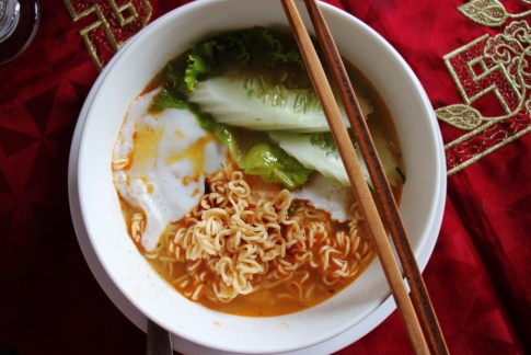 Breakfast noodle dish with egg and cucumber in Luang Prabang, Laos