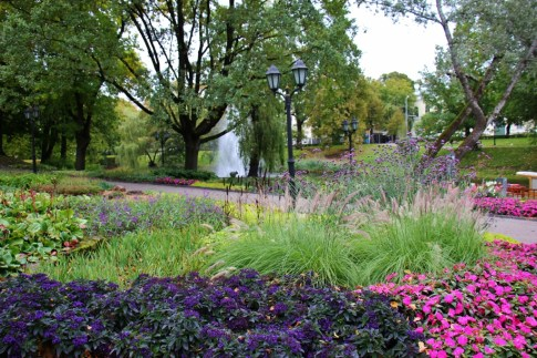Flowers along Pilsetas Canal in Bastion Hill Park in Riga, Latvia