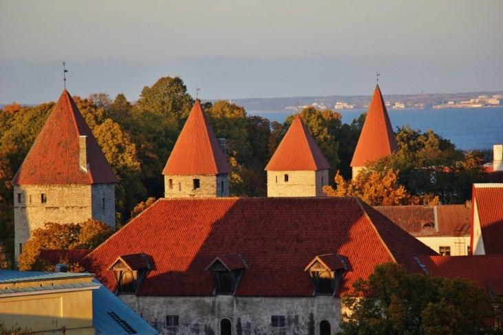 Historic city wall and towers in Tallinn, Estonia
