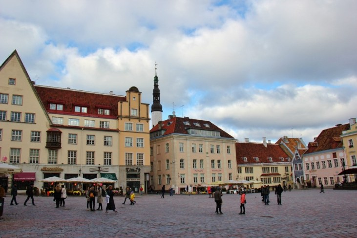 Buildings on Town Hall Square in Tallinn, Estonia Old Town