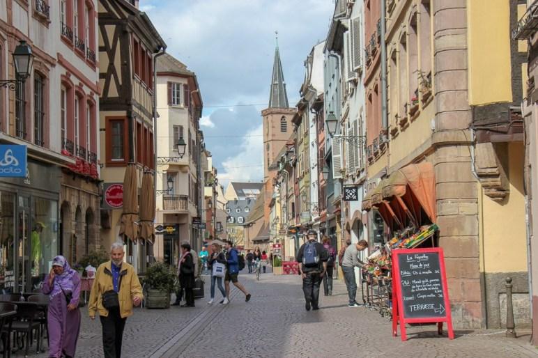 Grand Rue shopping street in Strasbourg, France