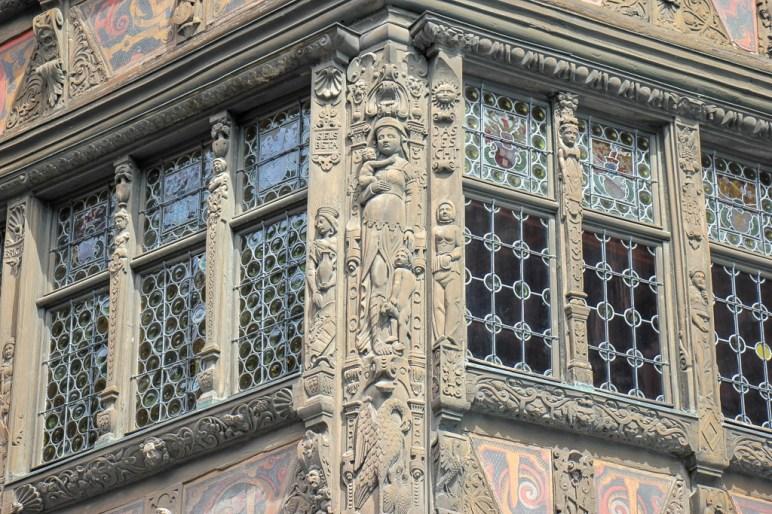 Detailed facade of Maison Kammerzell in Strasbourg, France