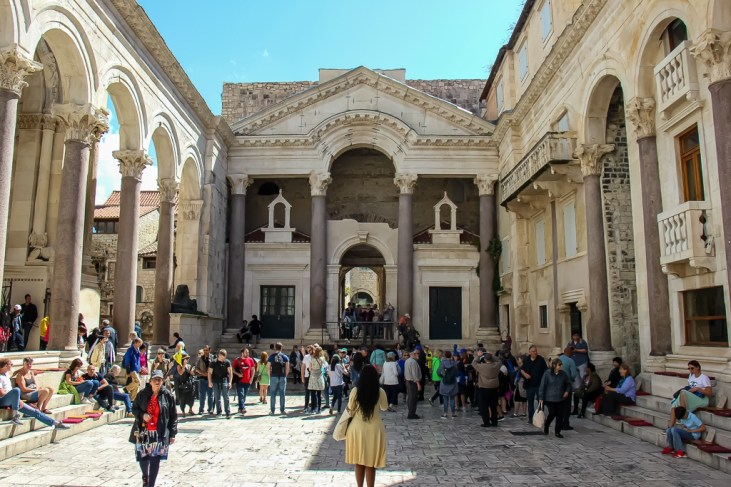 Main square inside Diocletian's Palace, Peristyle, in Split, Croatia