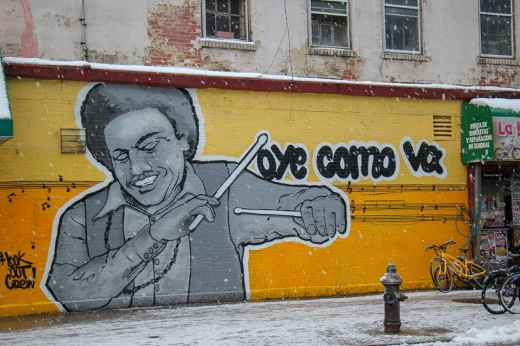 Tito Puente street art mural by LookoutCrew on 110th Avenue in East Harlem, New York City, New York