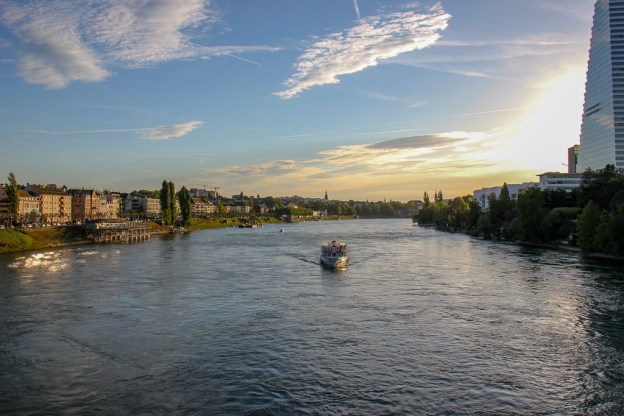 Sunset boat cruise on Rhine River in Basel, Switzerland