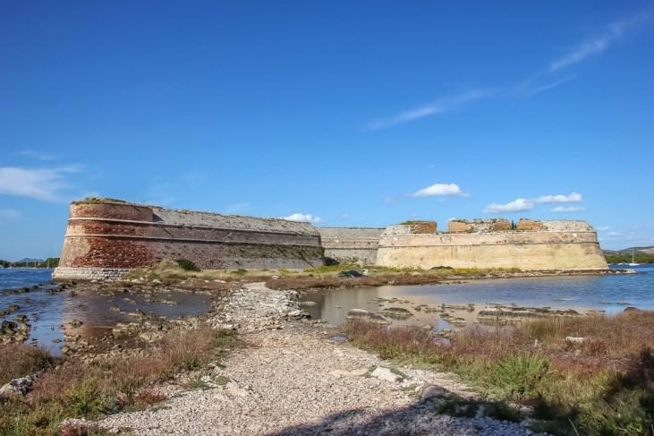 View from land, St Nicholas Fortress, Sibenik, Croatia