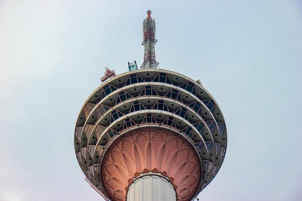 Looking up at KL Tower in Kuala Lumpur, Malaysia