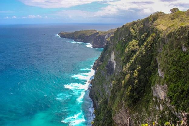 Cliffs and coastline at Kelingking Beach, Nusa Penida, Bali, Indonesia