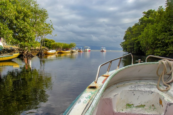 Riding a boat through Mangrove Forest on Nusa Lembongan, Bali, Indonesia
