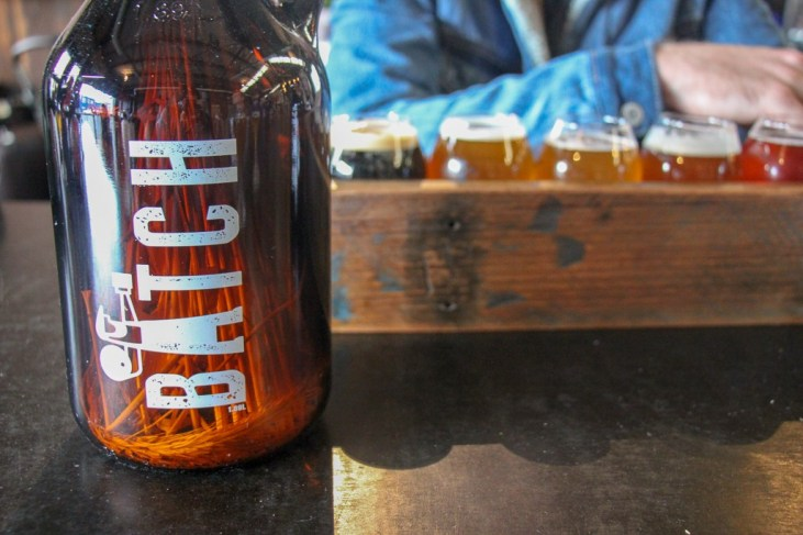Growler and tasting crate at Batch Brewing Company in Marrickville, Sydney, Australia