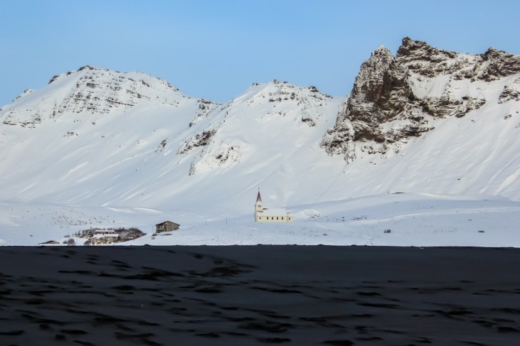 Church in the snow, Vik, Iceland