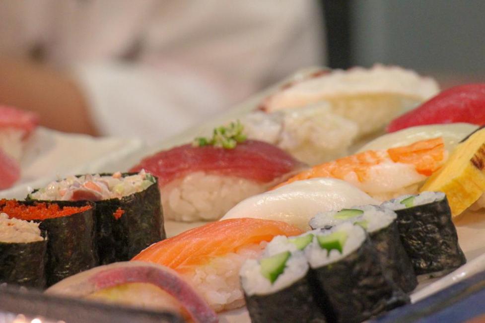 Platter of sushi at Tsukiji Outer Market restaurant in Tokyo, Japan