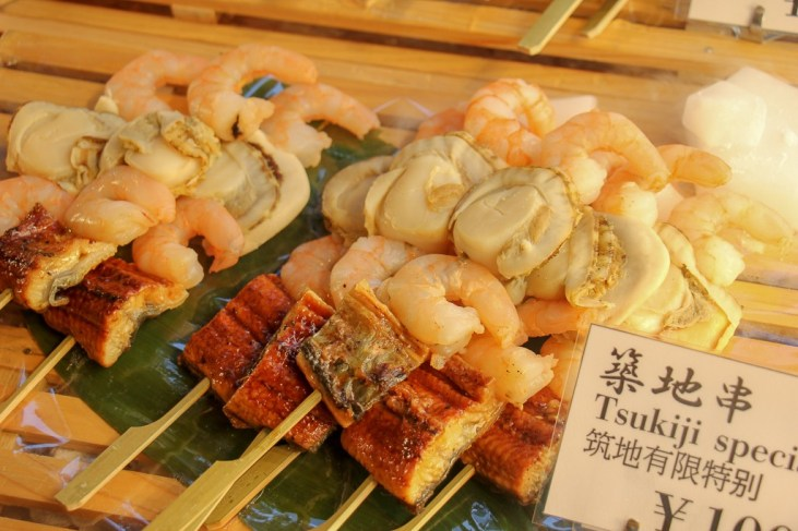 Seafood on a Stick at Tsukiji Outer Market in Tokyo, Japan