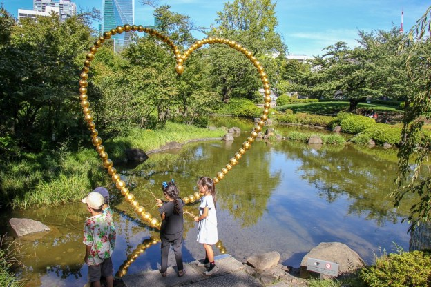 Pond at Mori Garden in Roppongi Hills in Tokyo, Japan