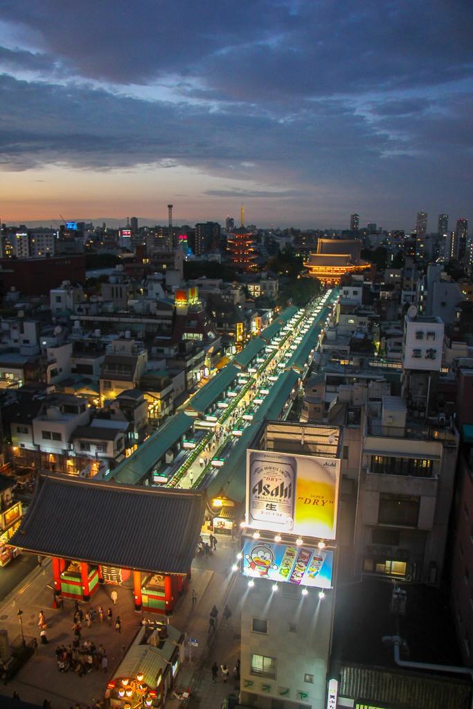 Elevated viewpoint of Sensoji Temple in Tokyo, Japan