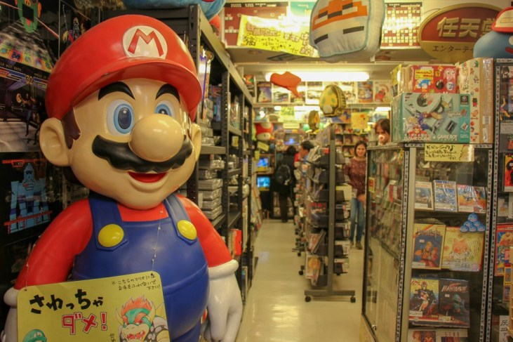 Super Mario greeter at Super Potato in Akihabara in Tokyo, Japan