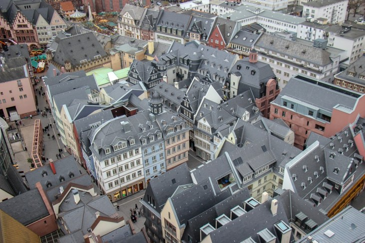 View of the New Old Town from above in Frankfurt, Germany