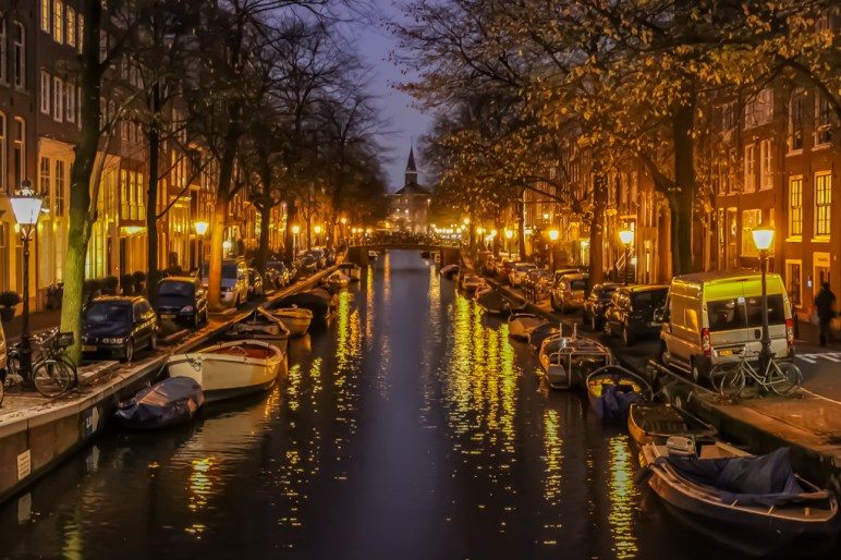 Canals in Jordaan at night, Amsterdam, Netherlands