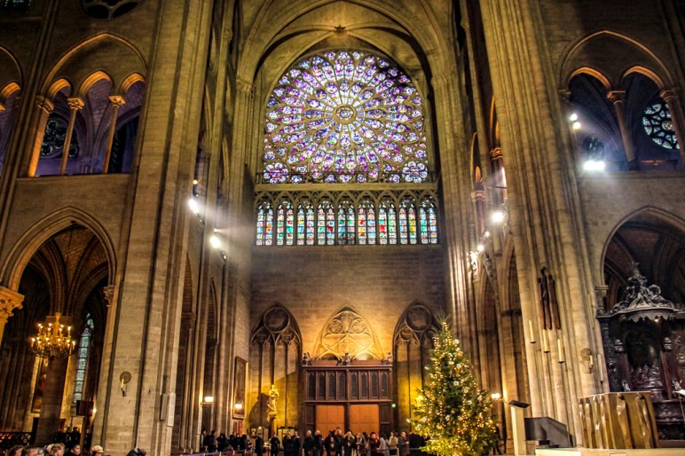 Rose Window in Notre Dame Cathedral in Paris, France
