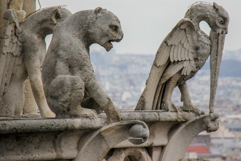 Gargoyles on Notre Dame Cathedral Towers in Paris, France