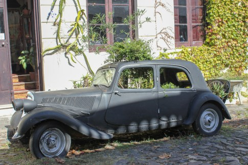 Old car with plants growing in it in Colonia del Sacramento, Uruguay
