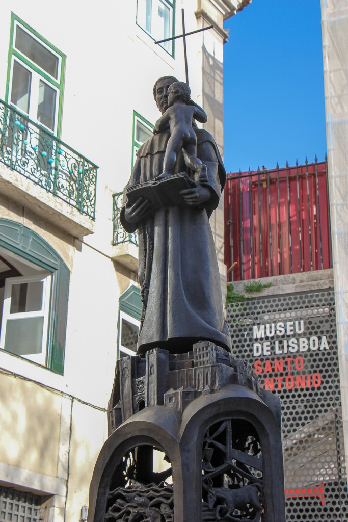 Statue of Saint Anthony in the courtyard, Church of Saint Anthony of Lisbon, Portugal