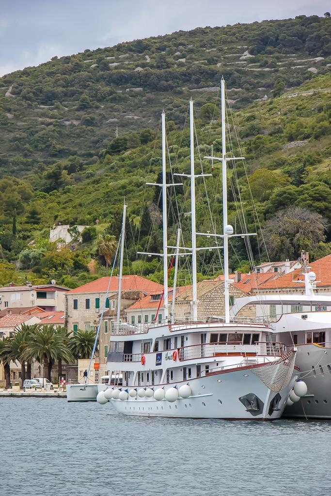 Almissa ship docked in Vis Town, Croatia