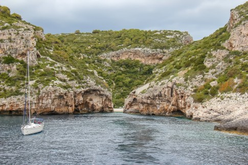 View of Stiniva Beach on Vis Island, Croatia from sea