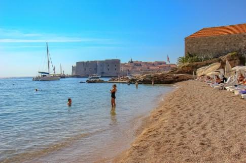 Shoreline at Banje Beach in Dubrovnik, Croatia