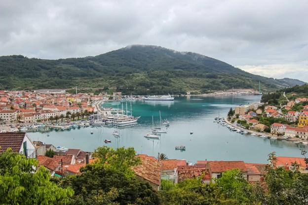 View of Vela Luka harbor from hillside on Korcula Island, Croatia