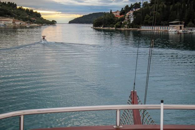 Watching sunset from Sail Croatia Almissa ship in Vela Luka Harbor, Korcula, Croatia