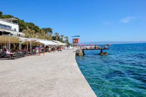 Eastern promenade with restaurants and bars at Bacvice Beach in Split, Croatia