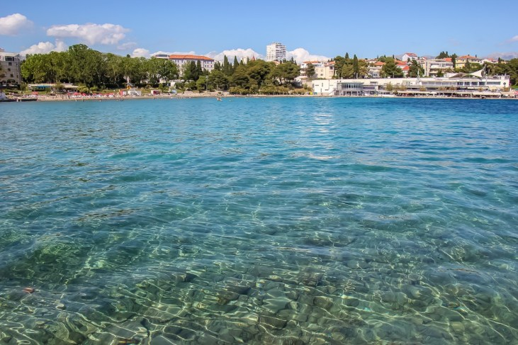 Turquoise water at Bacvice Beach in Split, Croatia