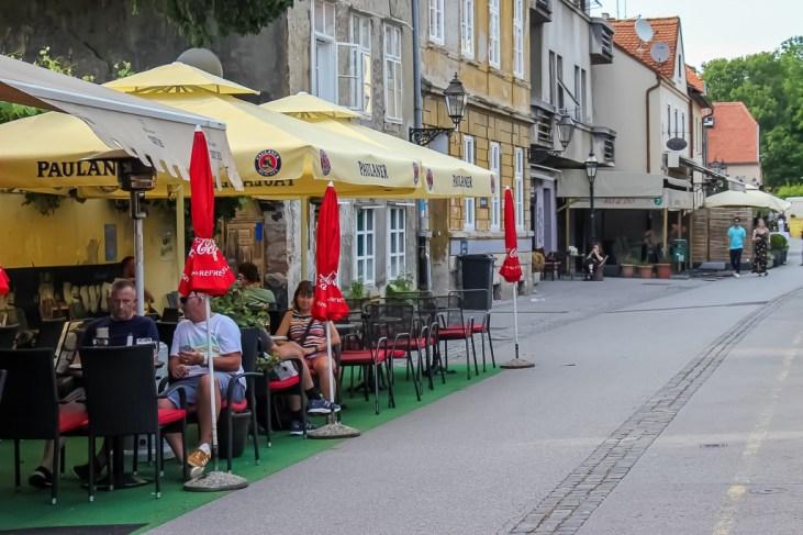 Outdoor tables on Beer Street in Zagreb, Croatia