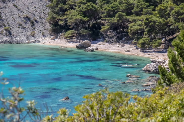 Secluded beach along coastal trail in Hvar, Croatia